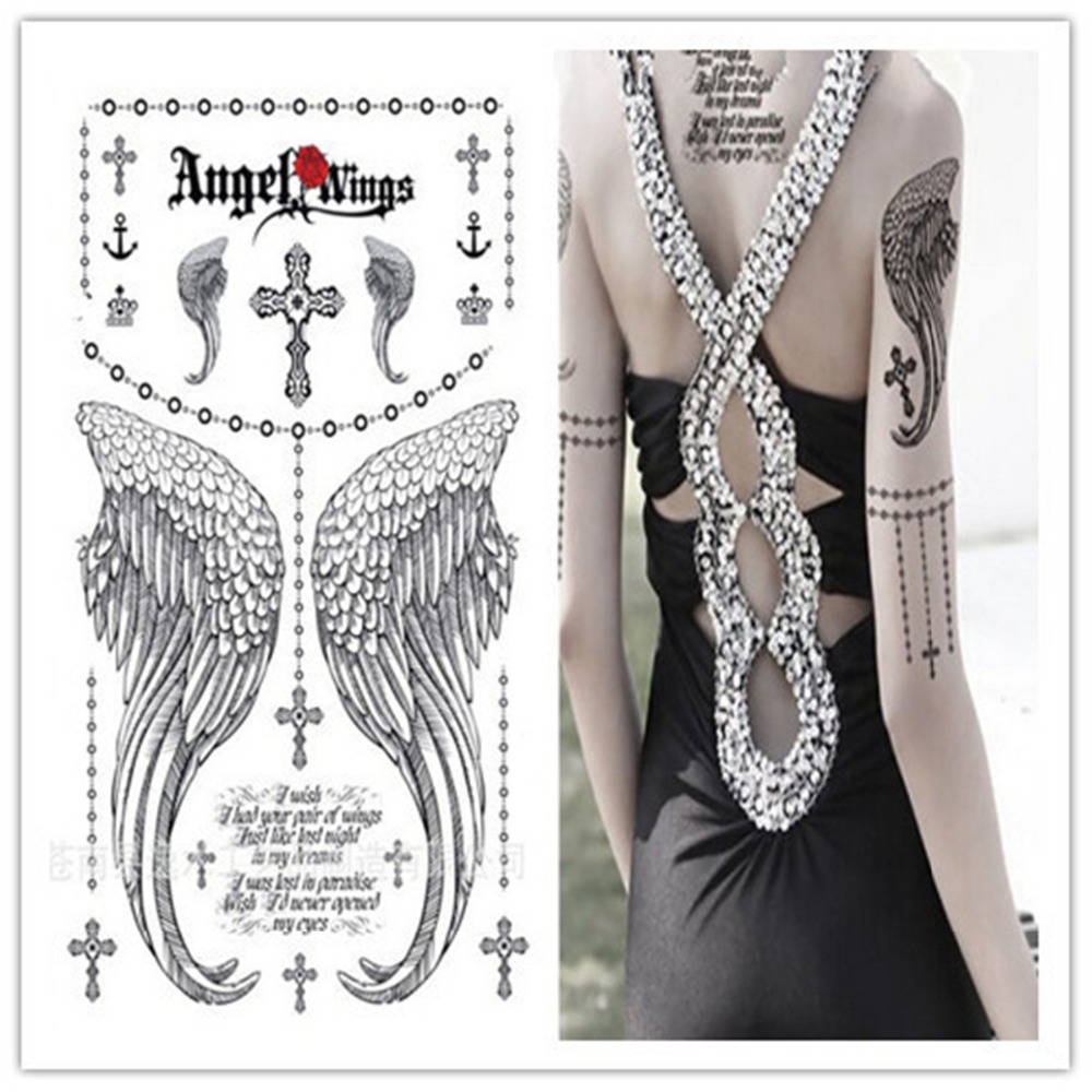 1pc temporary tatoos stickers/finger,face,shoulder,hand/Angel Wing VS Cross/waterproof,fake tattooed art/CE-Free ship