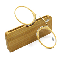 New Style Bamboo Nose Resting Reading Glasses +1.0 to +3.5, Portable SOS Wallet Reader clip on Mini reading glasses with case A5