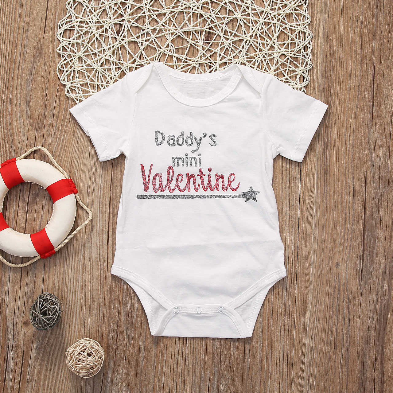 3bd55dbf0 ... Newborn Baby Girl Daddy's mini Valentine Bodysuit Jumpsuit Fitness  Outfit Clothes ...