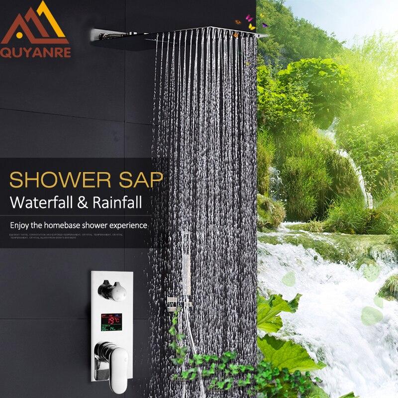 Quyanre цифровой смеситель для душа комплект 22 ультратонкий водопад дождь Насадки для душа цифровой Дисплей смесителя скрытые Ванная комната ...