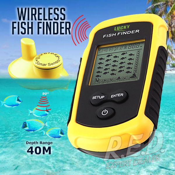 FFW-1108-1 LUCKY Fish Finder Wireless Sensor Portable Dot Matrix Live Update Weed Detector Bottom Contour Fish Alarm Fish Icon lucky ff1108 1c portable 2 in 1 wireless