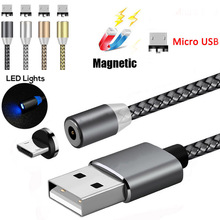 LED Indicator Magnetic Cable Micro USB Charger for Xiaomi Samsung HTC Huawei Android Mobile Phone Charge Magnet