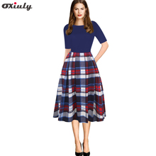 Oxiuly Vintage Dress Half Sleeve O-neck Vestidos Women Elegant Thin Plaid Printing Patchwork A-Line Casual Female
