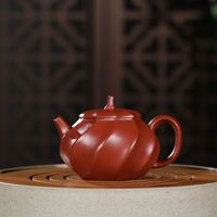 Yixing genuine famous artisans hand made purple sand pot original mine Zhuni Dahongpao ribbed pot teapot teapot
