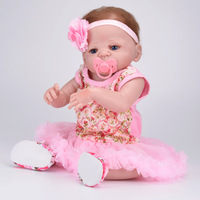 55cm Reborn Bebe Full Body Silicone Reborn Dolls Princess Babies Alive Bebe Bathe Toy Girls Bonecas Kids New Year Gift