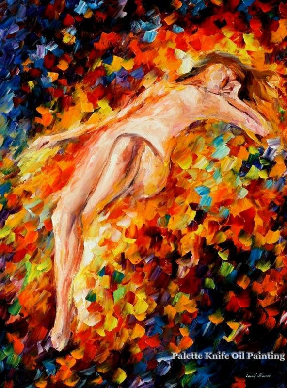 ᗐAmantes pintura al óleo desnuda del cuchillo de la paleta pintura ...
