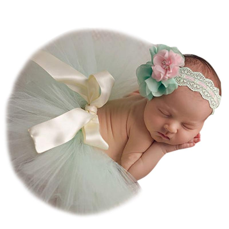 Newborn Baby Photography Props Infant Tulle Tutu Skirt with Flower Headband Kids Photo Prop Accessorie Cute Toddler Baby Clothes