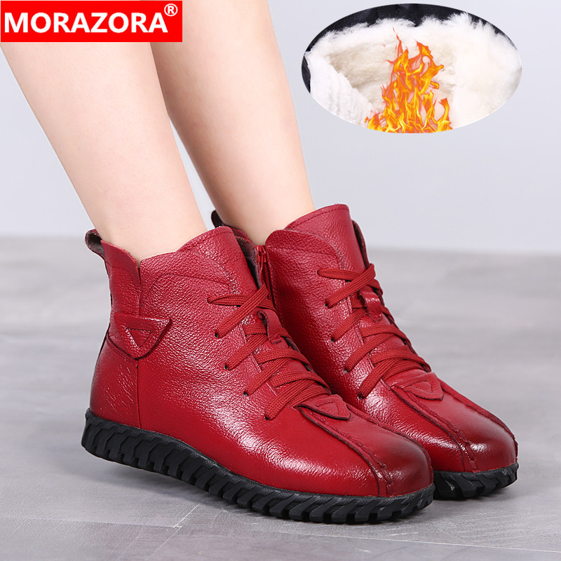 MORAZORA 2020 Russia Newest snow boots genuine leather women ankle boots keep warm wool boots comfortable casual shoes woman-in Ankle Boots from Shoes
