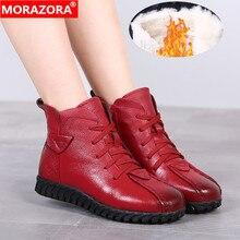 MORAZORA 2020 רוסיה החדש שלג מגפי עור אמיתי נשים קרסול מגפי להתחמם צמר מגפי נוח נעליים יומיומיות אישה
