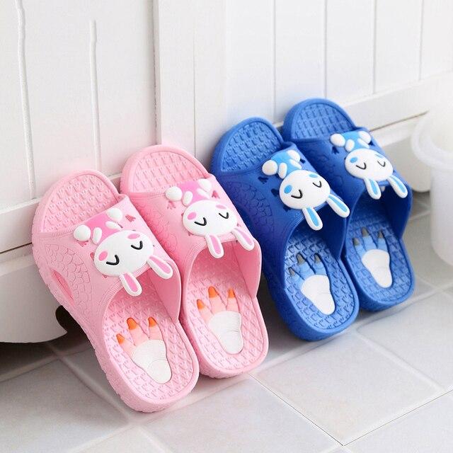 Детская тапочки летом Мультфильм Животных печать крытый мягкое дно обувь мальчиков и девочек ванная противоскольжения тапочки