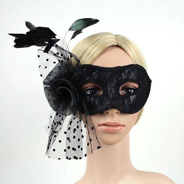 Black Lace Feather Women Venetian Mask Halloween Masquerade Prom Party  Mardi Gras Costume Mask 65889a512f11
