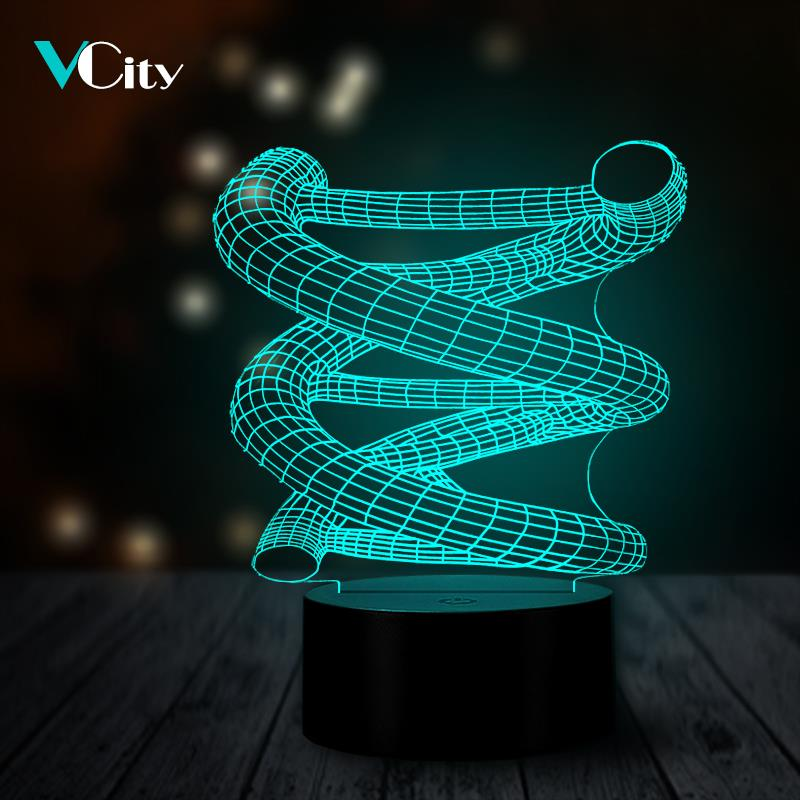 VCity Spiral DNA 3D LED Night Light Table Lamp USB Multicolor Party Atmosphere Decorative Lighting Bedroom RGB Change Colors Led