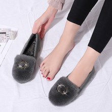2018 Fashion Bling Women Winter Slippers Crystal Fur Mules Women Casual Shoes Flats Bow Tie Crystal Flats Shoes Woman women s slippers fashion casual all match bow tie flat shoes