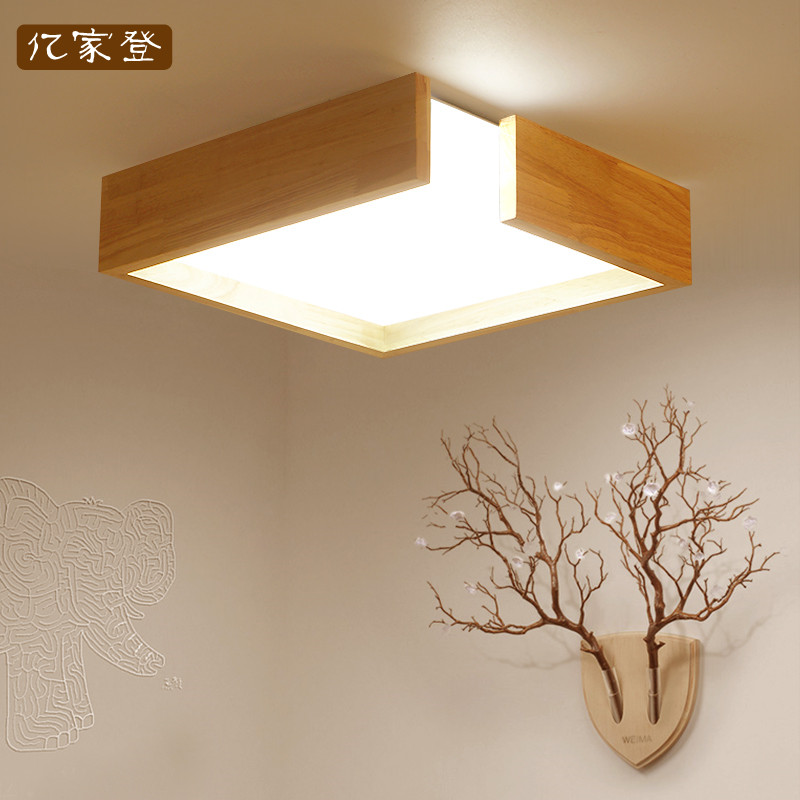 Nordic Japan square solid Wooden Frame led ceiling lights luminarias para sala dining room bedroom kitchen ceiling light