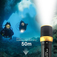 Pailide Diving Flashlight aluminium alloy strong light far range torch waterproof 50 meters led 18650 rechargeable battery torch|LED Flashlights| |  -