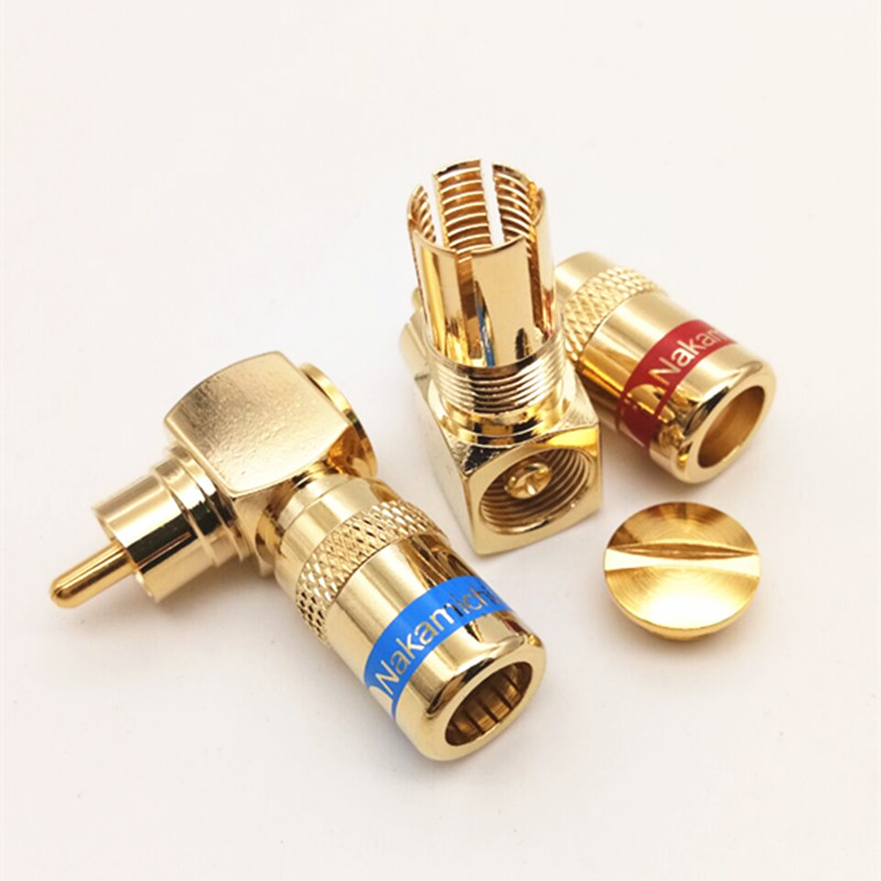 2pcs Free Solder Audio Cable Connector RCA Plug L Type 90 Degree Right Angle Elbow AV Audio And Video Line Plug Terminal