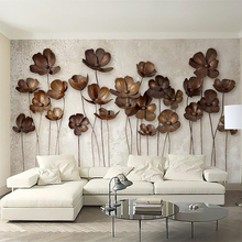 Beibehang papel de parede wallpaper for walls 3 d Custom iron flower retro modern minimalist TV background wall paper
