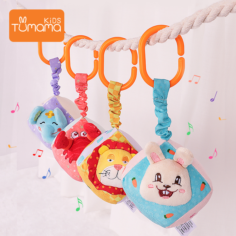 Tumama 4pcs Baby Crib Bed Toys Mobile Plush Rattles Bed Stroller Hanging Toy Cute Animal Newborns Education Toys Bell Rattles