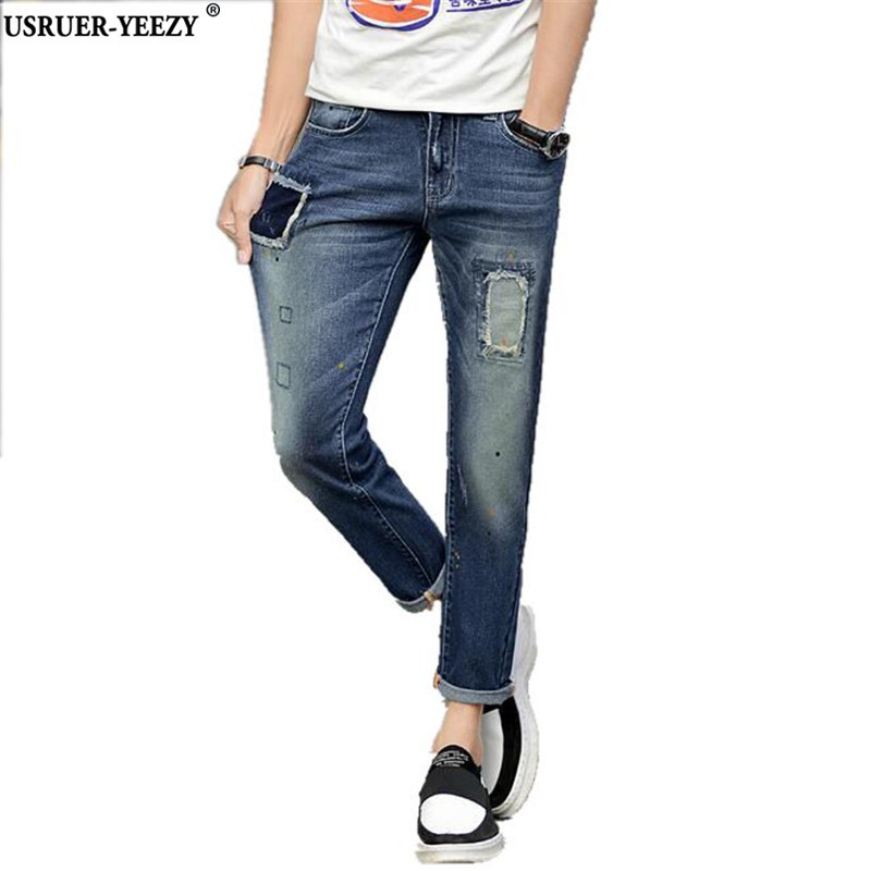 USRUER YEEZY Pants New Arrival Personality Retro Slid Washing Patchwork Stitched Mens Ripped Skinny Jeans male