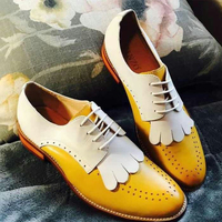 Genuine sheepskin leather brogue yinzo ladies flats shoes vintage handmade sneakers oxford shoes for women 2018 yellow red green