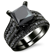 Fashion Black Cubic Zirconia Lovers Wedding Rings For Women Ring Set Luxury Brand Jewelry