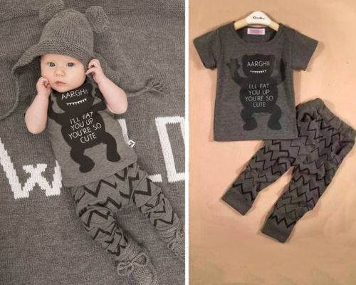 a55e5d0f1517 New Hot Casual Cool Fashion Baby Kids Boys Monster Clothes Set short ...