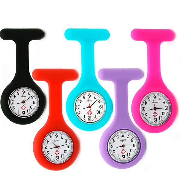 wholesale High Quality New Silicone Nurses Watches Doctor Pocket Fob Brooch Nurse Tunic Batteries Medical Quartz Watch