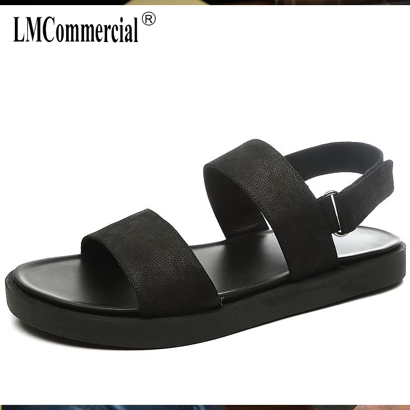 2018 new mens sandals summer Genuine Leather all-match cowhide Sneakers Men Slippers Flip Flops Summer Shoes beach outdoor