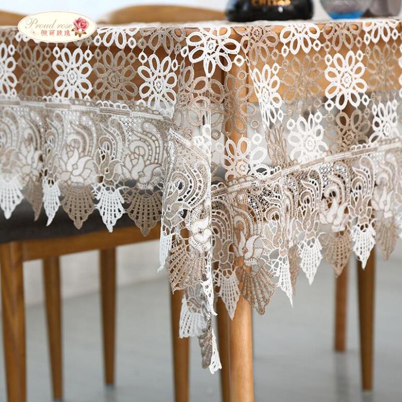 Proud Rose Lace masă de masă acoperă de masă Modă de nunta decorare fete de masa Rectangular Hollow Out Pânză de masă 4 Dimensiune