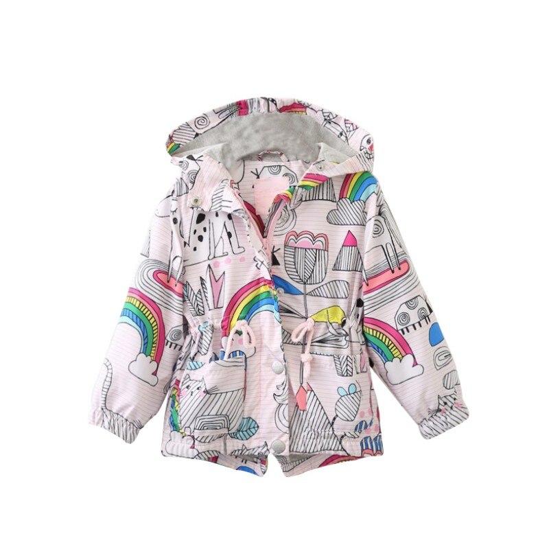 Autumn Baby Kids Girls Long Sleeve Printed Hooded Zip Windbreaker Trench Coat Jacket Outwear