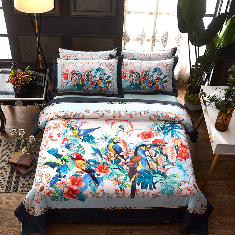 Modern 100% cotton Flowers and birds Bedding Set Home 4pcs Bed Linen Include Quilt Cover Sheet  Queen And King Two SizeModern 100% cotton Flowers and birds Bedding Set Home 4pcs Bed Linen Include Quilt Cover Sheet  Queen And King Two Size