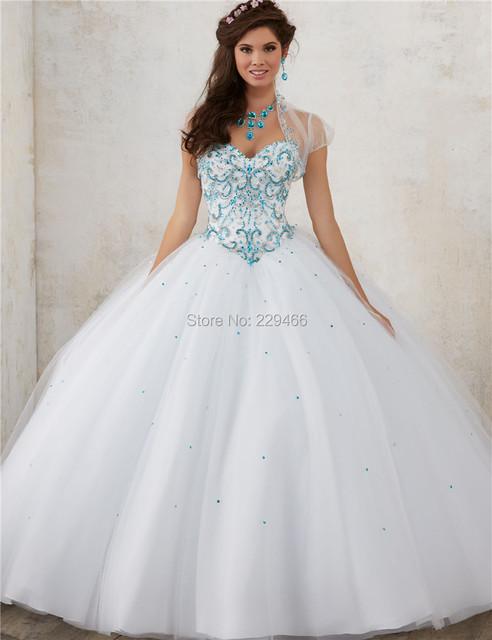 Grânulos brilhantes vestidos quinceanera 2017 sweet 16 vestidos de princesa vestido de baile vestido de debutante vestido branco que bling para 15 anos custom made
