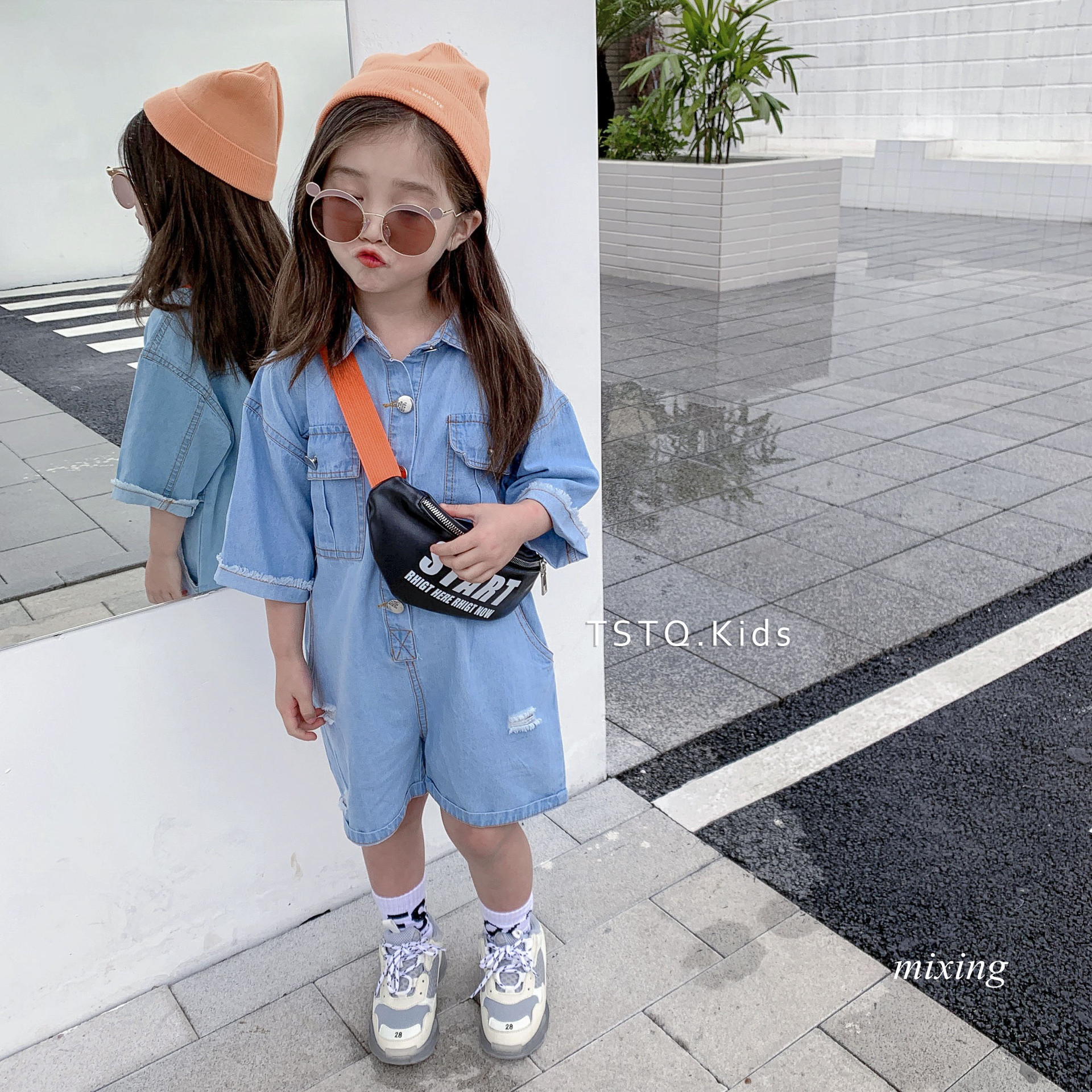 2019 summer tide boy denim jumpsuit girls Korean fashion girls denim  jumpsuit summer new wave