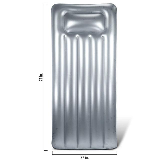 Inflatable Float Confetti Silver Glitter Air Swimming Mattress