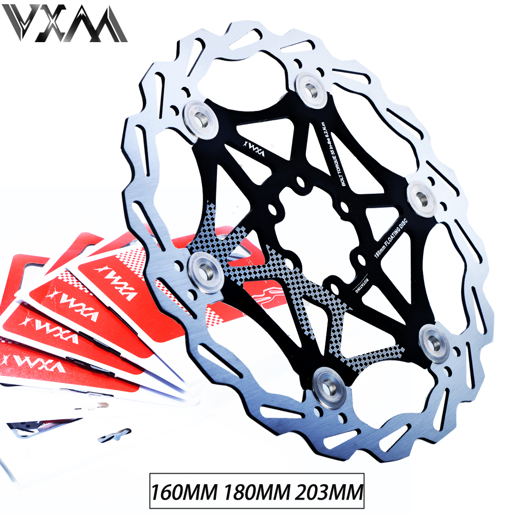 VXM Bicycle Hydraulic Brake Pad MTB Floating Disc Brake Rotor 160mm/180MM/203MM Alloy Bicycle 6Float Rotors brake Bicycle parts