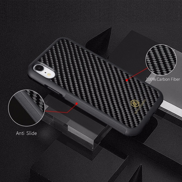 Mcase Glossy Case for iPhone XS XS MAX Case Cover Anti-Slide Real Carbon Fiber Case with Soft TPU for iPhone XR Phone Case