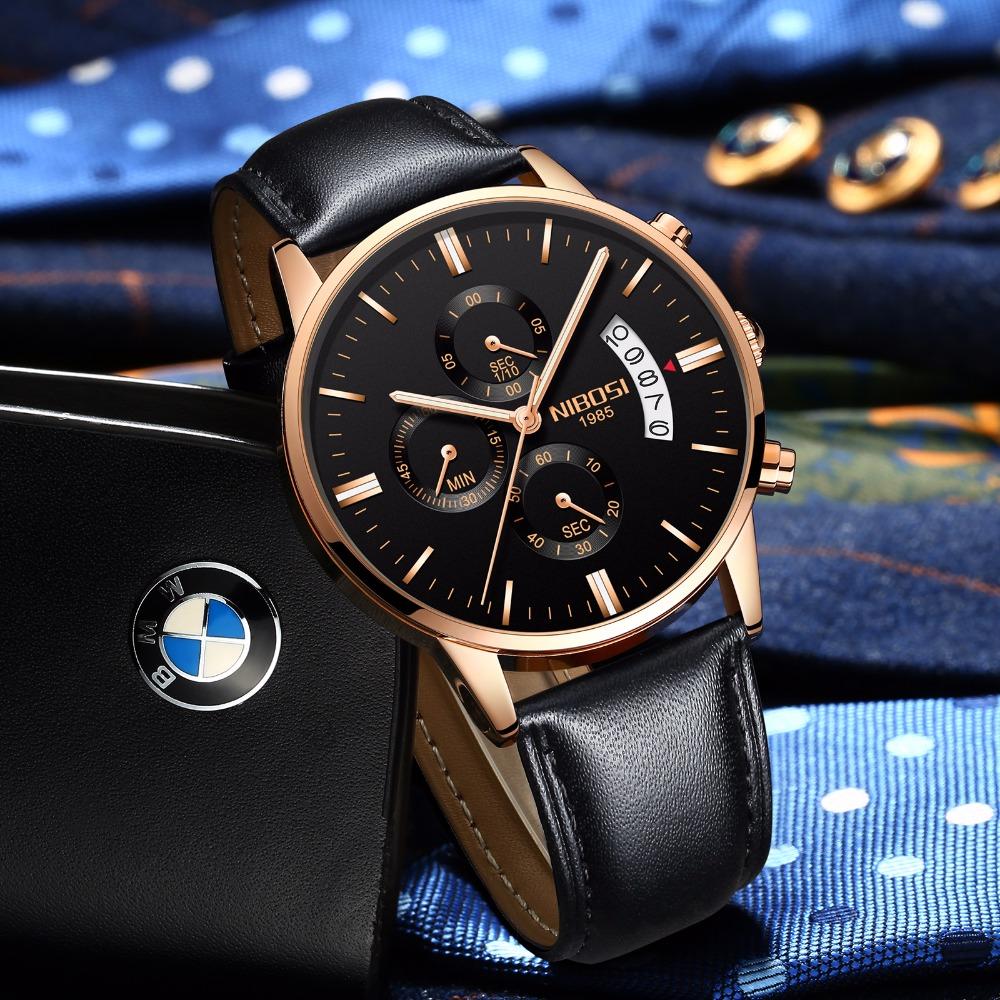 Relojes de hombre NIBOSI Relogio Masculino, relojes de pulsera de cuarzo de estilo informal de marca famosa de lujo para hombre, relojes de pulsera Saat 42
