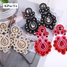 KPacTa Fashion Soutache Long Earring Jewelry Women Crystal Handmade Drop Earring Ethnic Style Clothing boucle doreille femme