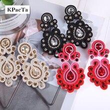 KPacTa Fashion Soutache orecchini lunghi gioielli donna cristallo orecchini fatti a mano orecchini stile etnico abbigliamento boucle doreille femme