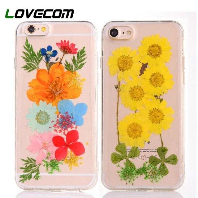 LOVECOM DIY Natuurlijke Real Gedroogde Bloemen Telefoon Gevallen Voor iPhone XS XR XS Max X 6 6 S 7 Plus clear Soft TPU Cover Coque Geschenken