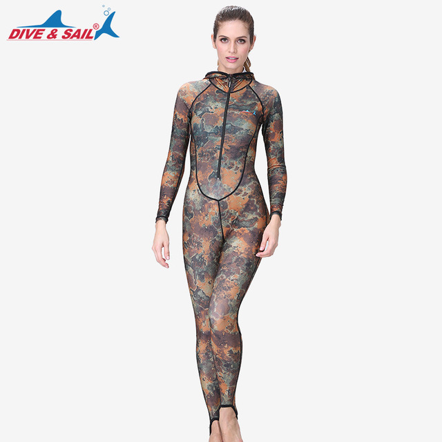 8b5e0c9cc2 DIVE SAIL UPF50+ Camouflage Rashguard Adult Snorkeling Dive Skin One-piece Hooded  Wetsuit Swimsuit for Women Diving Swimming