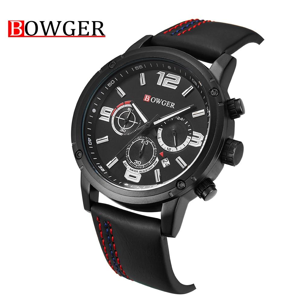 купить 2018 NEW Bowger Brand Men Fashion Leather Watches Men's Quartz Date Clock Man Waterproof Watch zegarki meskie Relogio Masculino по цене 3511.84 рублей