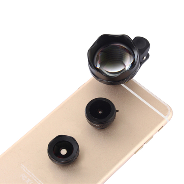 2017 Mais Novo 4 em 1 Schott Glas 3X Lente Lentes Fisheye Larga ângulo lentes macro para iphone 4 4s 5 5s 6 6 s 7 plus samsung