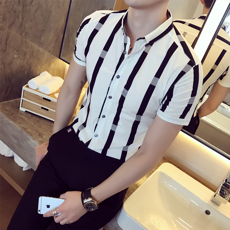 <font><b>Men's</b></font> <font><b>striped</b></font> <font><b>short</b></font> <font><b>sleeve</b></font> <font><b>shirts</b></font>, school wind young, slim <font><b>short</b></font> <font><b>sleeve</b></font> <font><b>shirt</b></font>, summer image