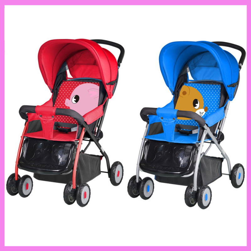 Folding Newborn Infant Carriage Baby Stroller Lightweight Four Wheel Trolley Can Flat Lying Footrest Baby Cart Bottom Basket mige stroller baby trolley cart folding baby carriage baby cart can be lying on the baby cart portable cart pram with 3 gift