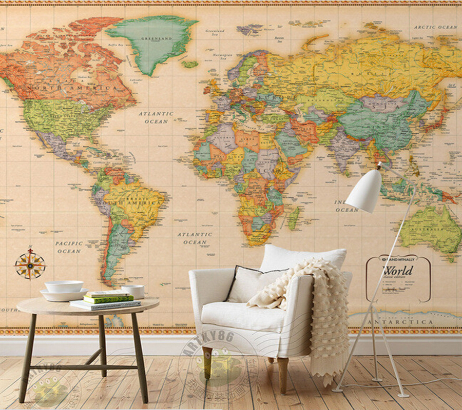 Custom papel de parede infantil retro world map for the for Papel de pared infantil