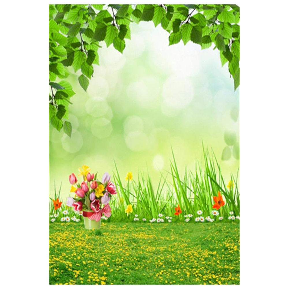 Top Deals Vinyl Thin Backdrop 3x5ft Photography Background Spring Theme Outdoor Fresh Air Flowers Grass Scene For Photo Studio image