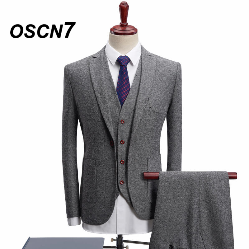 OSCN7 Gris 3 Pièce De Mariage Costumes pour Hommes D'affaires Décontractée Costume Homme Plus Taille Loisirs 2018 Hommes Costume 4XL