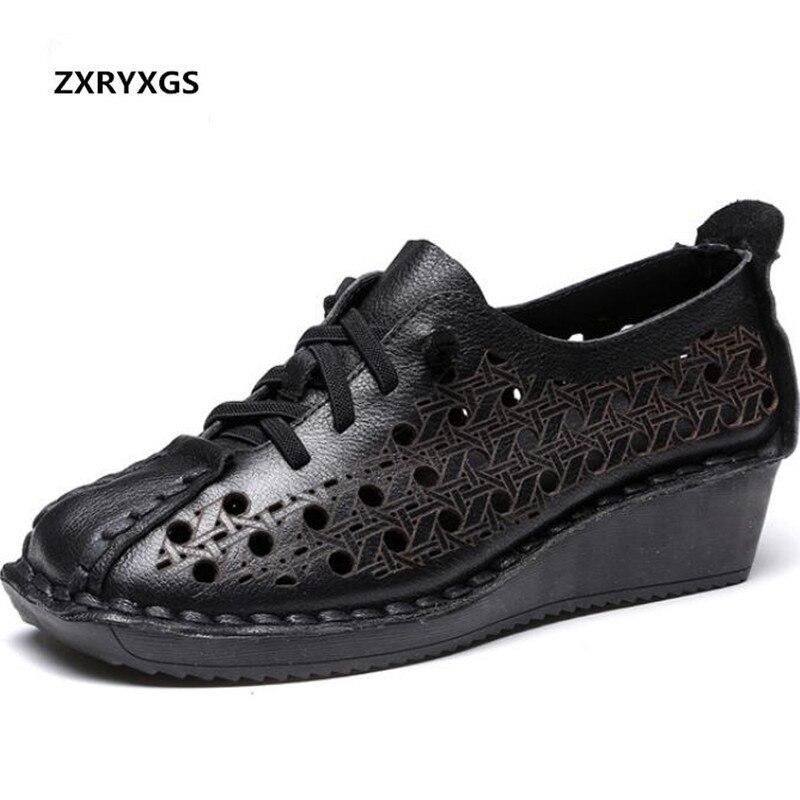 Fait à la main 100% naturel complet en cuir véritable sandales d'été femmes sandales 2019 nouveau à lacets trou chaussures femme sandales chaussures de mode