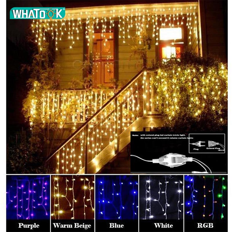 New Christmas Garland LED Curtain Icicle String Light 220V 4.5m 100Leds Indoor Drop Party Garden Stage Outdoor Decorative Light